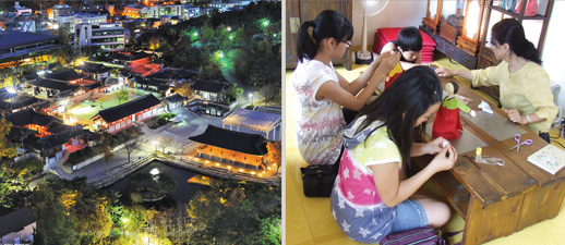 The whole view of Namsangol Hanok village, People are making Dakpaper doll