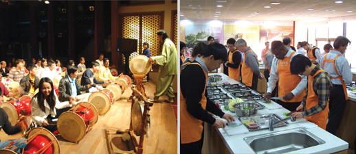 People are learning traditional instrument JANGGU, People are learning traditional food
